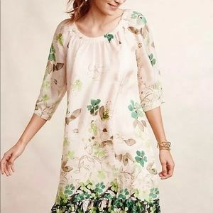 Anthropologie $188 Rainforest Silk Flora Dress L